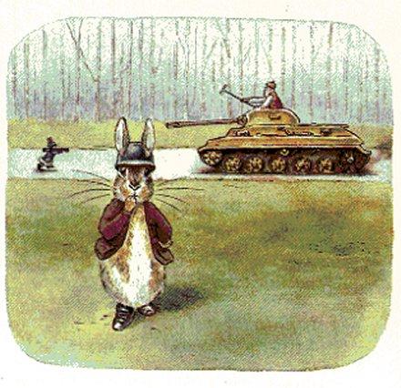 Peter coniglio affronta il carro armato