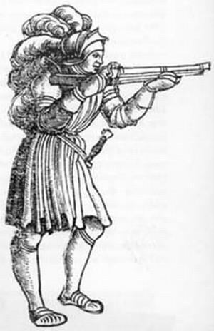 Cavaliere con archibugio a miccia 1499