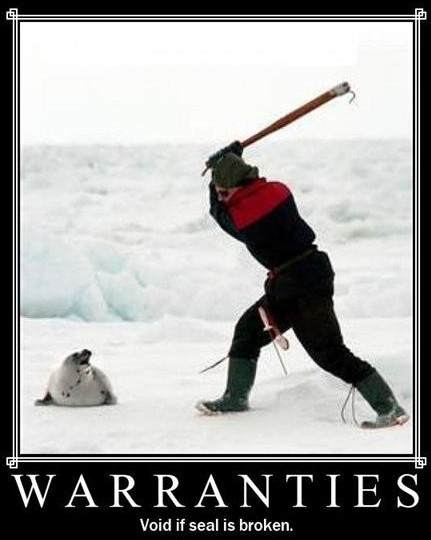 warranties void if seal is broken