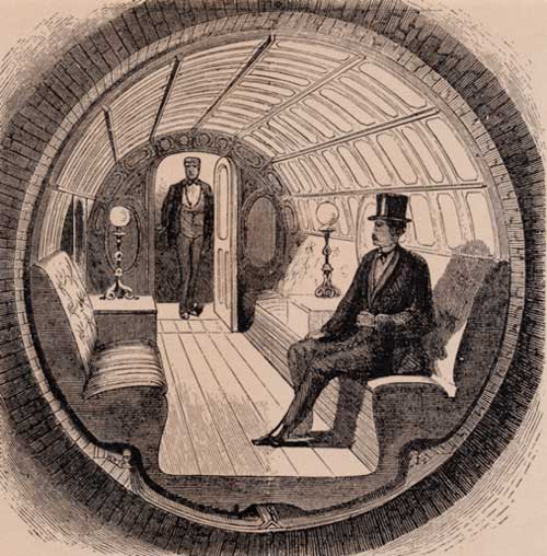 Alfred Ely Beach's pneumatic train car as it originally appeared in an 1870 issue of Scientific American