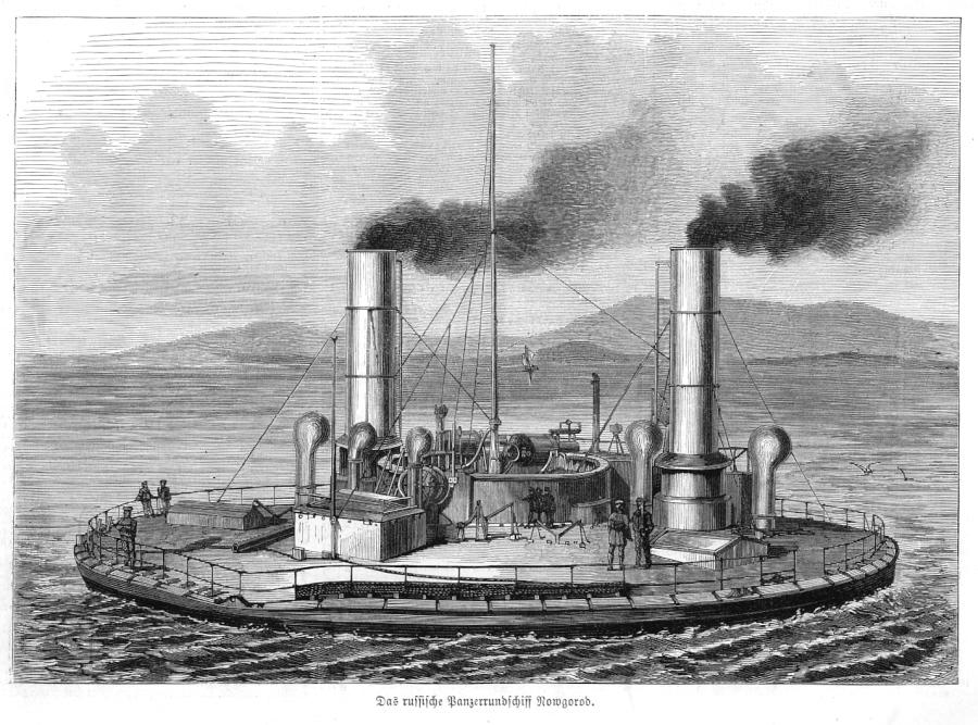 Russia_CIRCULAR_IRONCLAD_NOVGOROD _wood_engraving_1876