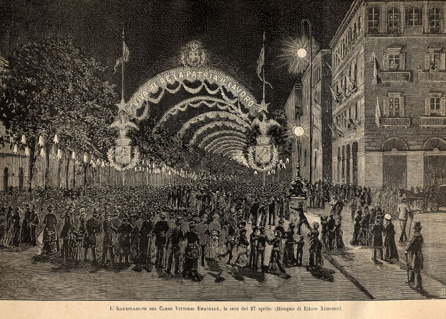 scoperta della lampadina : Esposizione di Torino nel 1884: illuminazione elettrica di Corso del ...