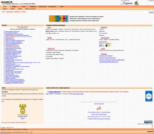 Schermata dal sito earmi.it di Edoardo Mori