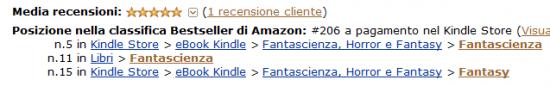 Kindle Fantascienza, quinto posto, 18 aprile 2014.