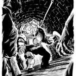 Scafandro potenziato, illustrazione tratta dal romanzo.