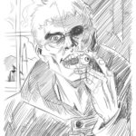 """Uno zombie del romanzo """"Caligo"""", bozzetto per l'illustrazione."""