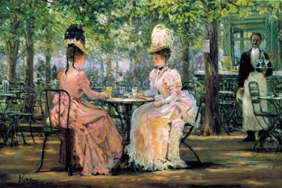 Due signorine prendono il tè assieme mentre il servitore negro le spia sognando di bere il tè con loro.