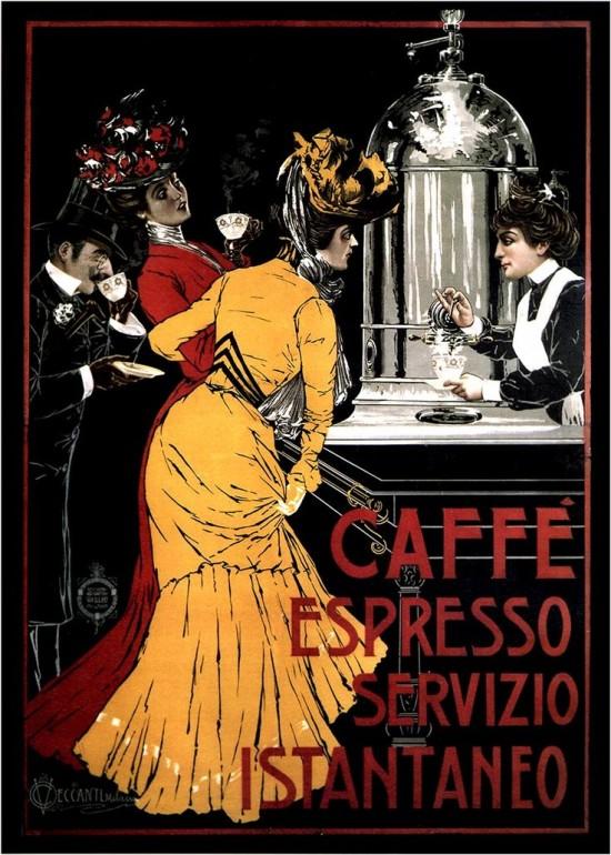 Poster degli anni 1900 o 1910, sulle nuovissime macchine da espresso. Praticamente bombe pronte a fare una strage (rivendicata dagli anarchici).