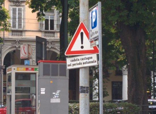 """Cose belle. Ho subito immaginato che abbiano messo il cartello dopo che uno aveva denunciato il comune per i danni all'auto e si sarà trovato risposto, con quel calore umano tipicamente piemontese, qualcosa tipo: """"Le si è rotto il parabrezza? Se l'è cercata a parcheggiare sotto i castagni. E ora se ne torni in Liguria."""""""