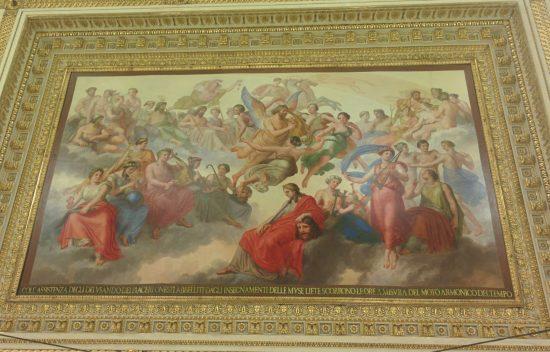 Uno degli affreschi nella Sala da Ballo. La testa decapitata ammira le fighe attorno di lui, e giù nella sala, e si lamenta di non avere più l'uccello.