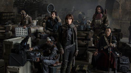 La squadra multiculturale e multietnica di Rogue One. Nella foto manca il droide, perché della loro minoranza non frega un cazzo a nessuno.
