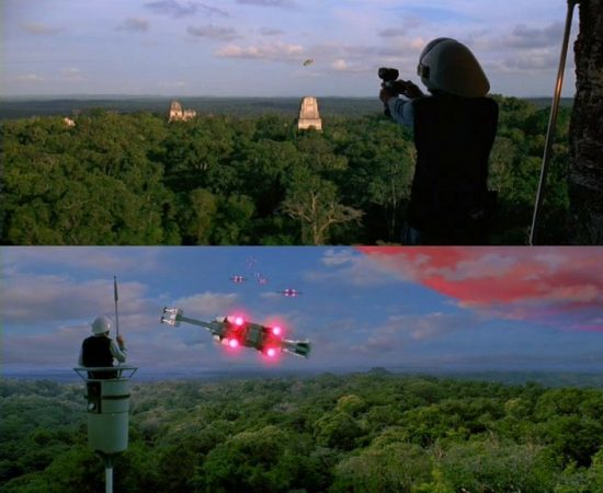In alto il soldato verifica il Millenium Falcon all'atterraggio. In basso osserva i caccia partire dalla base. Ci mancano solo i caselli autostradali galattici col personale umano alla cassa...