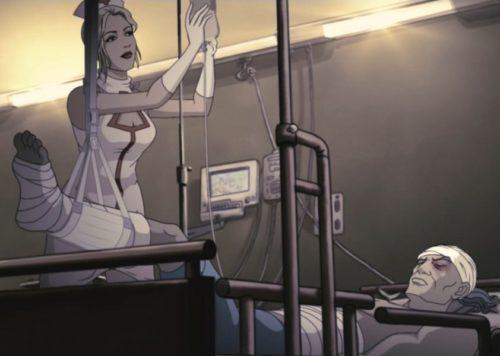 Una normalissima infermiera da film porno, fuori da un film porno.
