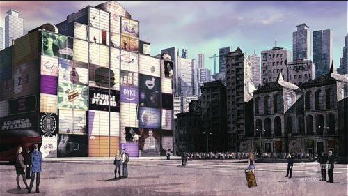 Il Duomo di Milano ricoperto di schermi pubblicitari.